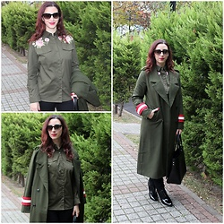 Rebel Takipte - Yoins Army Green Shirt, Gamiss Army Green Coat, Ami Club Wear Black Boots - Army Green