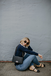 Julien Garman - Chanel Boy Bag, Hudson Jeans Denim, Ukies Two Toned Flats, Roman Navy Sweater, Miu Sunglasses - Light Wash Denim + Softest Sweater Ever