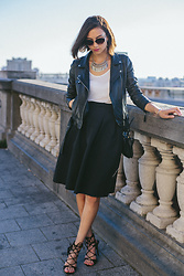Linh Minouderie - Zara Perfecto, H&M Skirt, Mango Bag, Zara Shoes, Mango Sunglasses, Forever 21 Necklace - Leather rider