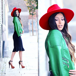 Kristina Zavarski - H&M Hat, Zara Jacket - Red & Green