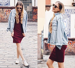 Marta M - Bubble Dress, Vintage Denim Jacket, Converse Sneakers - BURGUNDY