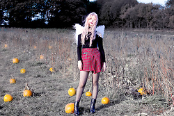 Kayla Hadlington - Body, Tartan Skirt, Wings, Lipstick, Boots, Tights - IN MY FIELD OF PAPER PUMPKINS | TOPSHOP HALLOWEEN