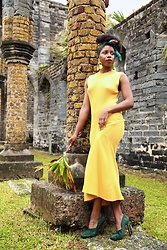 Monroe Steele - Revolve Dress, Derek Lam Shoes, Annie Costello Brown Earrings - The Unfinished Church Bermuda