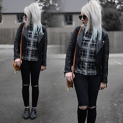 Sammi Jackson - Zaful Sunglasses, Topshop Biker Jacket, My Depop Checked Top, Zaful Bag, Topshop Joni Jeans, Topshop Bernie Boots - CHECKED TOP