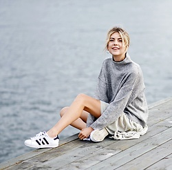 Ebba Zingmark - Na Kd Sweater, Samsoe Velvet Skirt, Adidas Sneakers - I want to get it right with you