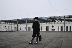 Bart Merks - Dr. Martens Black And White Shoes, Cheap Monday Jeans, Won Hundred Black Coat, Vintage Fur Hat, Weekday Black Turtleneck - Cold days are coming.