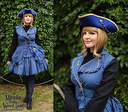 Mitsuko † from Weird Land - Madame Muffin Verne Set, Classy Lady Black Blouse, 404 Brand Not Found Handmade Tricorn - Blue sailing