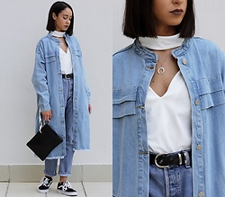 Esther L. - Dresslily Cut Out Top, Dezzal Denim Trench Coat, Zaful Horn Necklace, Levi's® Levi's 501, Mango Ring Bag, Vans Old Skool - The Denim Trench x Dezzal