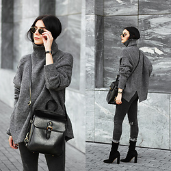 CLAUDIA Holynights - Stylewe Sweater, Vipme Bag, Solewish Boots, Stylewe Sweater, Sheinside Jeans - Dark grey