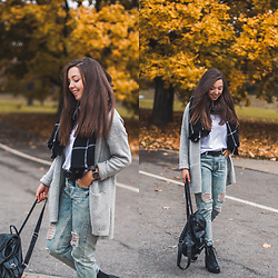 Gabriela Grębska - Asos T Shirt, Oasap Checked Scarf, Oasap Boyfriend Jeans, Daniel Wellington Watch, Medicine Belt, Chicwish Backpack, Deezee Boots - Grey cardigan & boyfriend jeans