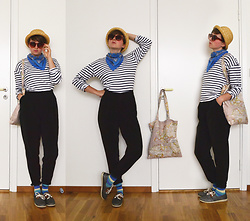 Reindeer ☂ - Monki Hat, Second Hand Scarf, Diy Bag, Second Hand Striped Top, Reserved Pants, Armistice Glittery Shoes - Illusionist