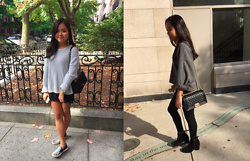 Monica and Bianca Roh - Brandy Melville Usa Knit Sweater, Chanel Classic Flap Bag, Forever 21 Lace Chiffon Skirt, Topshop Slipons, Zara Gray Knit Sweater, Chanel Boy Bag, Topshop High Waisted Jeans, H&M Black Booties - Sweaters & Statement Pieces