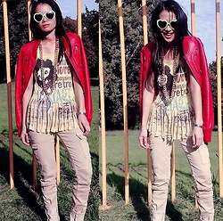 Hanna Painter - Zara Jacket, Terranova Tshirt, Long Necklace, Coolcat Jeans, Heart Green Sunglasses - Red jacket - keep moving on, baby!