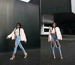 Wallace Yolicia - Publicdesire Briella Perspex Ankle Boots In Clear, Saksfifthavenue Tart Rella Faux Fur Coat, Boohoo Brea Distressed Boyfriend Cheeky Rips Jeans, Nyandcompany Lace Up Ruffled Blouse - BREAK THE MOLD, DRESS FOR YOURSELF