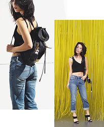 Eunice Kim - Moschino Backpack, Free People Rock Denim Jasper Jeans, Forever 21 Strappy Mule Heels, Zaful Spaghetti Strap Knitted Crop Tank Top, Target Plunge Lace Bralette - Finding Inspiration in the Simple Things