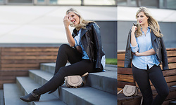 Lena B - Mango Leather Jacket, H&M Shirt, Chloé Bag, Topshop Jeans, Mango Boots - Black & Blue