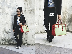 Kylie Rodriguez - Tomato Studded Leather Jacket, Jukaykay Malice In Wonderland T Shirt, Hba Black Jogger Pants, Hermès Tri Color Birkin, Adidas Black Campus Sneakers - Just wind me up and watch me tick, tock, tick.
