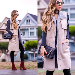 Sasa Zoe - Vest, Boots, Sunglasses, Choker, Bag, Jeans - VESTED AT PAINTED LADIES