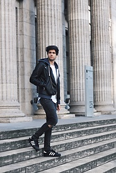 James Adams - Adidas Black Superstars, Topman Black Ripped Jans, H&M Black Leather Jacket, Abercrombie & Fitch Navy Blue Hoodie, Asos Ripped Tshirt - The Metropolitan Museum of Art inspired.