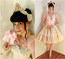 Tyler H - Dollar Tree Tiara, Lotvdesigns Rainbow Bows, Modified Dollar Tree Magic Wand, Modified Dollar Tree Transformation Brooch, Ebay Pearl Collar, Handmade Chiffon Blouse, Ebay Pearl Drop Earrings, Lotvdesigns Rainbow Stripe Dress, Lotvdesigns White Lace Wrist Cuffs, Ebay White Bow Lace Stockings, Handmade Gold Glitter Heels - Rainbow Prism Power Make-Up!