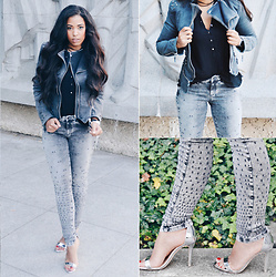 Chiara Culture With Coco - Deyk Grey Skinny Jeans, Lookbook Store Studded Shoulder Denim Blazer Grey, Kurt Geiger Silver Sandal Heel - Fade To Grey