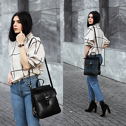 CLAUDIA Holynights - Sheinside Grid Sweater, Vipme Bag, Solewish Boots, Locman Watch - Grid