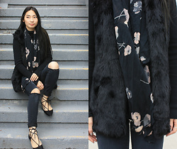 Victoria Chan - Topshop Ballet Flats, Thrifted Black Fur Vest, Diy Scarf, H&M Turtle Neck Top, Joe Fresh Diy Ripped Jeans, Pandora Ring - Black Pastel