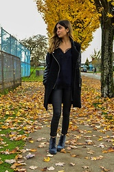 Maria P - Aliexpress Black Moto Coat, Topshop Black Lace Trim Camisole, Topshop Black Coated Skinny Jeans, Topshop Velvet Combat Boots - Shades of Black