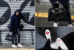 MillyQ Chung - Koral Activewear Shiny Metallic Active Legging, Fendi Peekaboo, Diemme Lace Up Sneaker, Yazbukey Red Lips Shoe Decoration - Stroll in a rainy day.