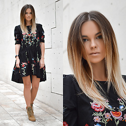 Tamara Bellis - Zaful Floral Embroidered Long Sleeve Drap Dress, Schuhcenter Booties, Calvin Klein Watch - Elegance and Comfort in the City