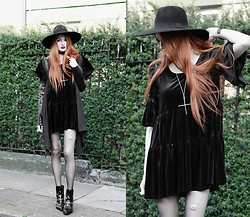 Olivia Emily - Killstar Witch Brim Fedora Hat, Church Of Sanctus Faux Leather, Faux Fur Coat, Reclaimed Vintage Velvet Dress, River Island Leg Chain, Asos Eyelet Studded Boots - Welcome Home.