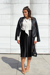 Joana Sá - Mango Leather Jacket, Zara White Laced Shirt, Zara Midi Skirt, Parfois Bag, Zara Nude Pointed Shoes - B&W