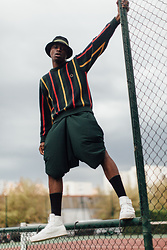 Marc-Henri Ngandu - Palace Skatebording Bob, Tommy Hilfiger Colors Strip Pull Over, Self Made Short/Pant, H&M Black Socks, Limtaeng Studio Brayden White - Tommy Strip