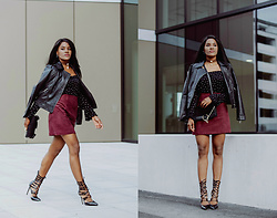 Wallace Yolicia - River Island Dark Red Suede Mini Skirt, Esprit Black Printed Off Shoulder Top, Steve Madden Women's Piper Lace Up Pointed Toe Booties, Chloé Faye Leather And Suede Clutch, Thomas Sabo Sterling Silver Glam & Soul Ear Stud -  IF YOU HAVE AN INNER BADASS, LET IT BE FREE