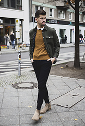 Dominik H. Mueller - Kenzo Green Jacket, Cos Pullover, Drykorn For Beautiful People Black Trouser, Vaganond Boots - The green jacket