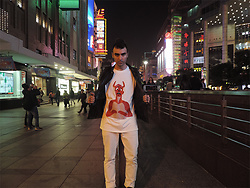 Marco Santaniello - Marco Santaniello Demon Tshirt Handsewn Pvc Patch Made In Italy - Wearing my new tee around Nanjing Road Shanghai- no boots!