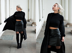 MONIKA S - Round Earrings, Turtleneck Crop Top, Coated Leather Skirt, Over Knee Thigh Boots, Furry Bag With Chain, Long Winter Coat - NORTH STAR