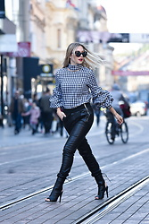 Sonja Kovac - Sheinside Gingham Shirt, Zara Leather Pants, Solewish Boots, Fendi Sunglasses - GINGHAM SHIRT