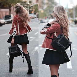 Karolina Antoniades - Gucci Boots, Camelia Roma Backpack, Faconnable Skirt, Zara Jacket - Sunday