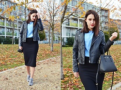 Julia Litvin - New Balance Sneakers, Kate Spade Bag, Jacket, Kira Plastinina Skirt - Leather Jacket