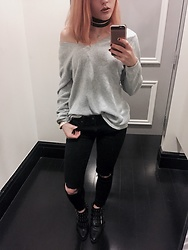 Tiffany Federer - Forever 21 Studded Booties, Pacsun Busted Knee Black Denim, Old Navy V Neck Sweater - Sundaze