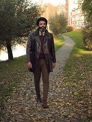 Dualleh Abdulrahman - Condor Diy Vintage Jacket, Harris Tweed Brown Diy Pants, Zara Suede Boots - Autumn 2