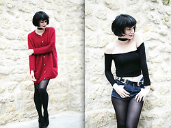 Mahayanna . M - Derhy Red Cardigan, Rosegal Crop Top Choker, Zaful Double Buckle Belt - Rise