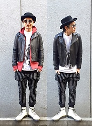 ★masaki★ - Newyork Hat Coachman, Odyn Vovk Hoodie, David Bowie Diamond Dogs, Coach Glasses, Dogpile Stripe Pants, Dr. Martens Made In England 8eyes - Japanese trash style 44