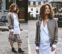 Denisia A. - Quiz Clothing Khaki Satin Bomber Jacket, Cos White Tuxedo Shirt, Mango Snake Print Culottes, Emilio Luca Suede Ankle Boots - Cozy boots and bomber jackets