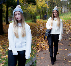 Emma Reay - Sugarhill Boutique White Jumper, Sugarhill Boutique Bobble Hat - Cosy Knitwear