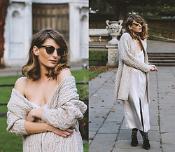 Denisia A. - Aran Sweaters Direct Knitted Wool Coat, Topshop Silk Slip Dress, Pied A Terre Suede Ankle Boots - Street style heroes