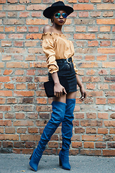 Melody Jacob -  - PLAIN OUTFIT :DENIM SKIRT AND OFF SHOULDER