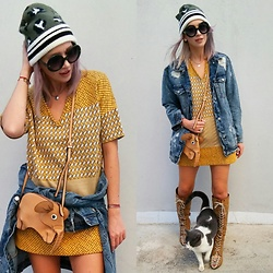 Joanna L - Zara Dress, Zara Hat, Stradivarius Jeans Jacket, Brylove Sunnies - #kitty