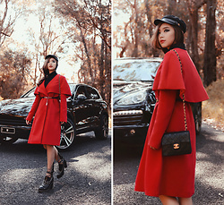 Willabelle Ong - Fiddler Newsboy Cap, Keepsake Wide Awake Red Wrap Coat, Chanel Black Classic Quilted Mini 2.55 Flap Bag - Spring